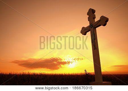 cross backlight at the sunset, Romania