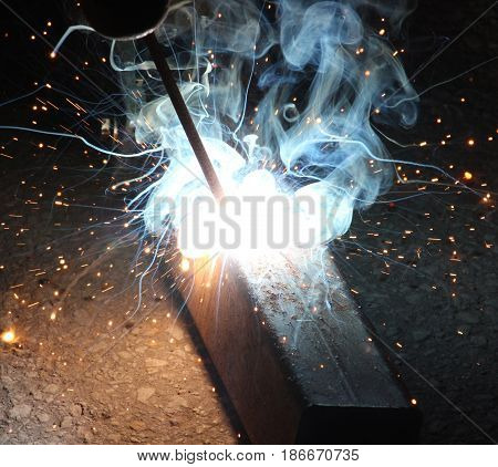 Sparks And Jets Of Smoke When Welding Of Steel Structures