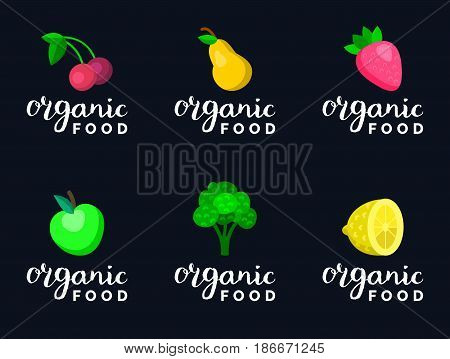 Fruits and berries vector illustration in flat style, cherry, apple, pear, lemon, strawberry, broccoli for eco food logos and organic products signs. Healthy meal and drinks icons set.