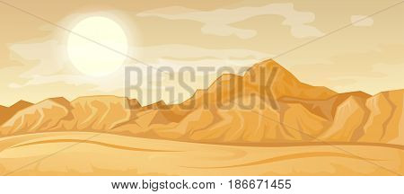 Desert landscape illustration with dune and mountains. Vector nature horizontal background