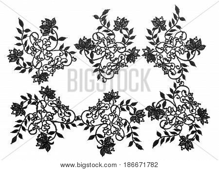 Embroidered lace trim isolated over white background. Fabric texture set