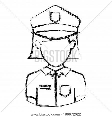 monochrome blurred contour with half body of faceless policewoman vector illustration