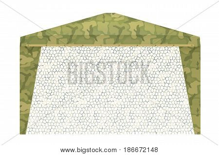 Military tent on a white background. Vector illustration