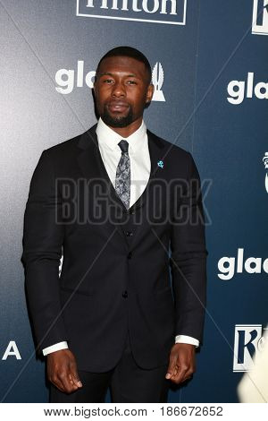 LOS ANGELES - APR 1:  Trevante Rhodes at the 28th Annual GLAAD Media Awards at Beverly Hilton Hotel on April 1, 2017 in Beverly Hills, CA