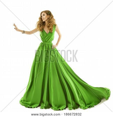 Woman Green Dress Fashion Model in Long Silk Gown Touch by Hand Isolated over White Background