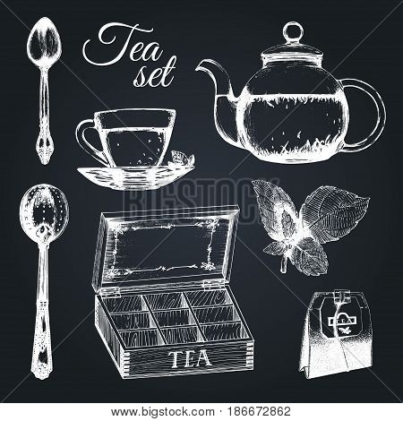 Hand drawn vector tea set. Illustrations collection of kitchen glass and silver appliances in sketch style, cup, pot, spoon, infuser etc.