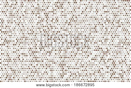 Poster Brown Circles With Transparency. Banner Balls Of Different Sizes. White Background. Halftone