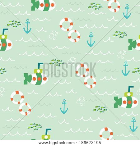 Nautical sea seamless pattern with lifebuoy submarine anchor and fish