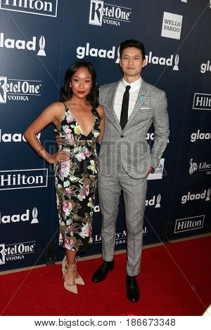 LOS ANGELES - APR 1:  Shelby Rabara, Harry Shum Jr at the 28th Annual GLAAD Media Awards at Beverly Hilton Hotel on April 1, 2017 in Beverly Hills, CA