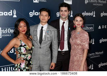 LOS ANGELES - APR 1:  Shelby Rabara, Harry Shum Jr., Matthew Daddario, Esther Kim at the 28th Annual GLAAD Media Awards at Beverly Hilton Hotel on April 1, 2017 in Beverly Hills, CA