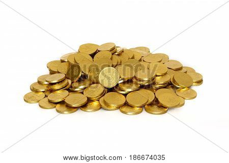 Pile of chocolate coins 1 euros on a white background