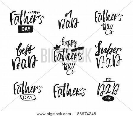 Happy Father s day lettering modern calligraphy style. Handwritten keywords .The text greeting templates greeting card for Father. Vector illustration