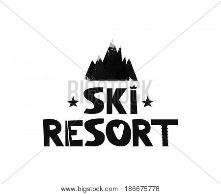 The ski resort. Advertising logo mountain resort. The inscription the text in the Scandinavian black and white style. Watercolor silhouette of black mountain. Vector illustration