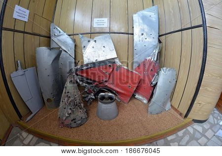Fragments of the air and ballistic targets after interception.Museum of former Soviet anti-ballistic missile testing range Sary Shagan.May 10, 2017.Priozersk.Kazakhstan