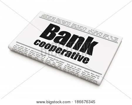 Banking concept: newspaper headline Bank Cooperative on White background, 3D rendering