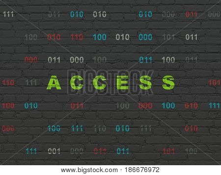 Security concept: Painted green text Access on Black Brick wall background with Binary Code