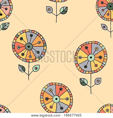 Seamless vector hand drawn doodle childlike floral pattern. Background with childish flowers, leaves. Decorative cute graphic line drawing illustration. Print for wrapping, background, fabric, decor