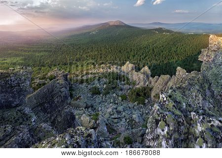 Panoramic View Of The Mountains And Cliffs, South Ural. Summer In The Mountains.view From The Mounta