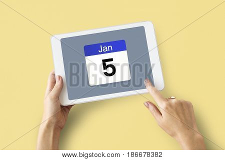 Illustration of calendar schedule planning on digital tablet