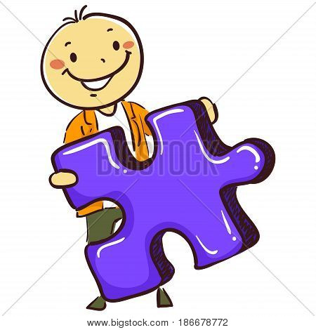 Vector Illustration of Stick Man Boy Holding a Puzzle Piece