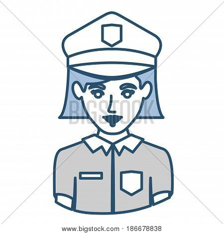 blue silhouette with half body of policewoman vector illustration