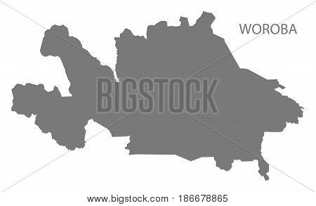 Woroba Ivory Coast Map Grey Illustration Silhouette
