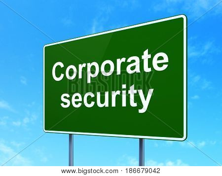 Safety concept: Corporate Security on green road highway sign, clear blue sky background, 3D rendering