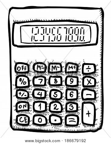 Cartoon image of Calculator Icon. Mathematics symbol. An artistic freehand picture.