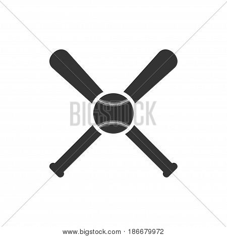 Baseball icon with baseball ball and two bats. Isolated on white. Vector illustration.