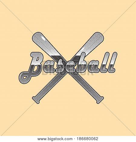 Baseball stipple lettering and baseball bats. Vector background.