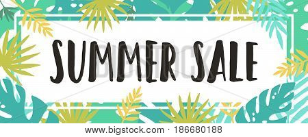 Summer sale. Tropical style. Vector banner. Hand drawn illustration