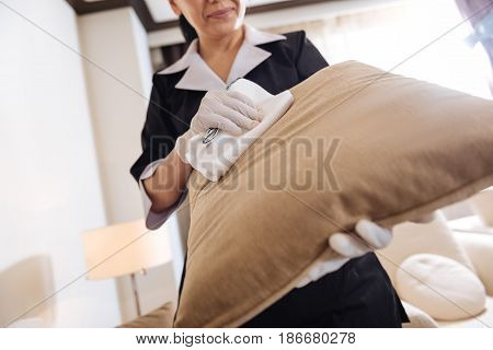 Cleaning service. Close up of a sofa cushion being cleaned by a professional good looking chambermaid while doing the room service