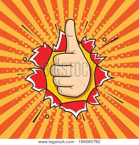 Pop art thumbs up hand sign like hand gesture OK sign comic style illustration. hand through the hole in paper.