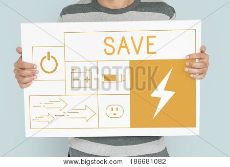 Man holding banner of energy saving sustainability power generation campaign