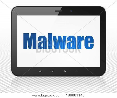 Safety concept: Tablet Pc Computer with blue text Malware on display, 3D rendering