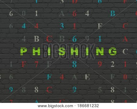 Security concept: Painted green text Phishing on Black Brick wall background with Hexadecimal Code