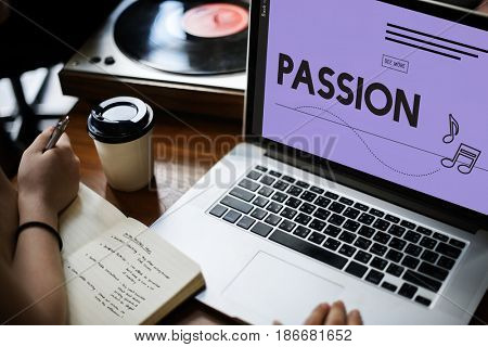 Computer laptop showing  passion word