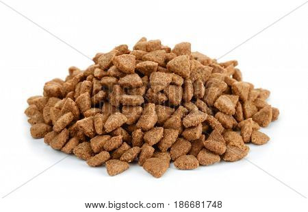 Pile of dry cat food isolated on white