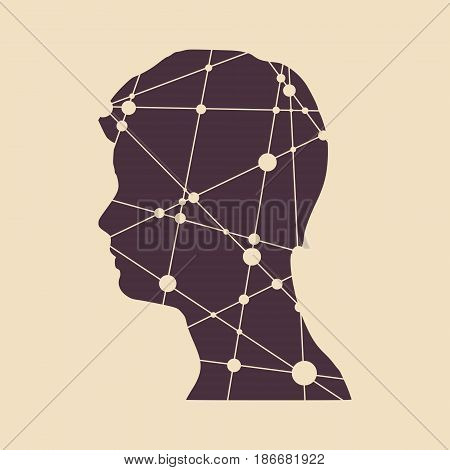 Profile of the head of a man. Mental health relative vector design template. Scientific medical designs. Molecule And Communication Background. Connected lines with dots.