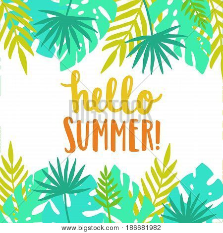 Hello summer. Bright and beautiful card template. Vector illustration
