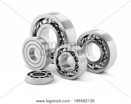 Group of ball bearings with different sizes on white background, 3D illustration