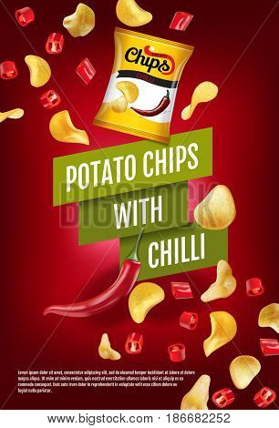 Potato chips ads. Vector realistic illustration with potato chips with chilli. Vertical poster with product.