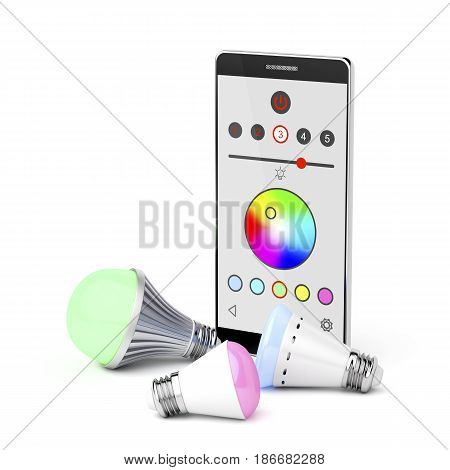 Smartphone and color changing LED light bulbs on white background, 3D illustration