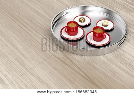 Silver tray with espresso coffee cups and chocolate candies on wooden table, 3D illustration