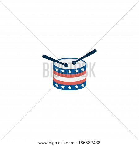Flat Drum Element. Vector Illustration Of Flat Musical Instrument Isolated On Clean Background. Can Be Used As Drum, Usa And Instrument Symbols.