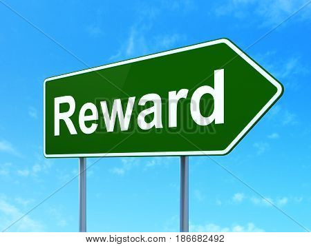 Finance concept: Reward on green road highway sign, clear blue sky background, 3D rendering