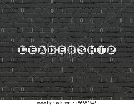 Business concept: Painted white text Leadership on Black Brick wall background with Binary Code