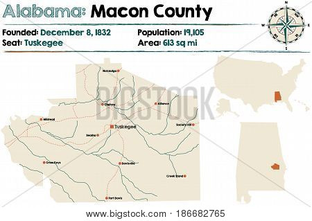Large and detailed map of Macon County in Alabama.