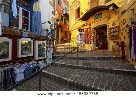 CHANIA, GREECE - APRIL 15, 2017: Shops in the old town of Chania on Crete island, Greece on April 15, 2017.