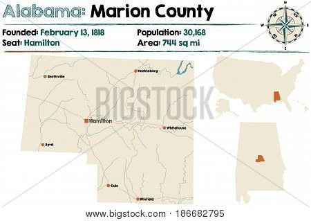 Large and detailed map of Marion County in Alabama.